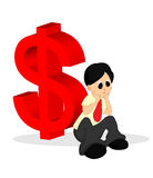 A Man in Shirt Looking Worried with Money Sign At Royalty Free Stock Photography