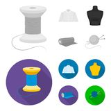 A man shirt, a mannequin, a roll of fabric, a ball of threads and knitting needles.Atelier set collection icons in. Monochrome,flat style vector symbol stock Royalty Free Stock Images