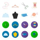 A man shirt, a mannequin, a roll of fabric, a ball of threads and knitting needles.Atelier set collection icons in. Cartoon,flat style vector symbol stock Stock Photo
