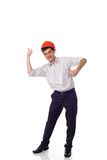 Man in a shirt orange construction helmet, thumbs Stock Photography