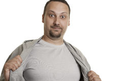 Man in shirt showing his chest Stock Photo