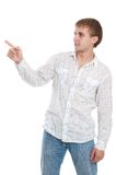 Man in shirt, showing right Stock Photo