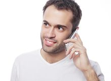 Man in shirt speaking on the phone Royalty Free Stock Photos