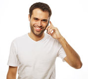 Man in shirt speaking on the phone Royalty Free Stock Photo