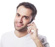 Man in shirt speaking on the phone Royalty Free Stock Images