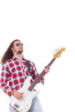 Man in shirt with sunglasses playing electric bass guitar Stock Photo