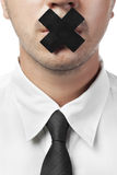Man in shirt and tie with closed mouth isolated Royalty Free Stock Images