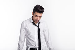 Man in shirt and tie headache in morning Stock Photography