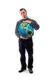 Man in shirt and tie holding world globe Stock Images