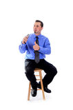 Man in shirt and tie speaking with a microphone Stock Photos