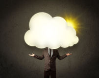 man in shirt and tie with a sunny cloud head concept Royalty Free Stock Photography