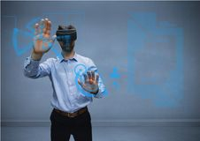 Man in shirt with vr using interface. Digital composite of man in shirt with vr using interface Royalty Free Stock Photo