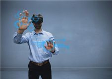 Man in shirt with vr using interface. Digital composite of man in shirt with vr using interface Stock Photos