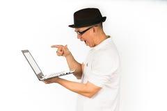 man shock laptop Royalty Free Stock Image
