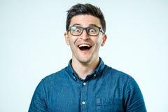 Man with shocked, amazed expression Stock Photo