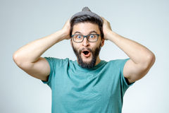 Man with shocked, amazed expression Stock Photography