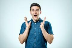 Man with shocked, amazed expression Royalty Free Stock Images