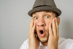 Man with shocked, amazed expression stock images