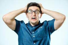 Man with shocked, amazed expression Royalty Free Stock Photos