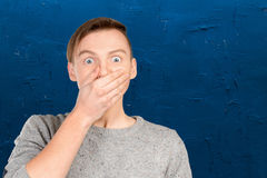 man with shocked facial expression Stock Photo