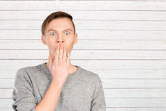 Man with shocked facial expression Royalty Free Stock Photos