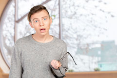 Man with shocked facial expression Stock Image