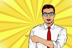 Man with shocked facial expression. Surprised male showing by finger. Vector pop art illustration royalty free illustration