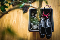 Man shoes. Bow tie before wedding Royalty Free Stock Photo
