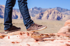 Man shoes canvas outdoor travel hiking mountain on summer. Activity Stock Photo