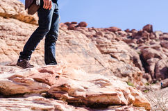 Man shoes canvas outdoor travel hiking mountain on summer. Activity Royalty Free Stock Photo