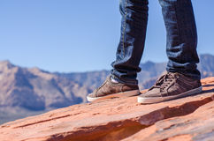 Man shoes canvas outdoor travel hiking mountain on summer Royalty Free Stock Image