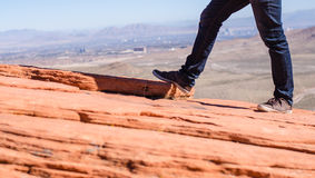 Man shoes canvas outdoor travel hiking mountain on summer. Activity Royalty Free Stock Image