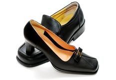 Man shoes and lady shoes Royalty Free Stock Image