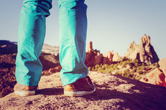 Man shoes lifestyle outdoor travel at the garden of god, Colorado spring. With vintage background style Stock Photos