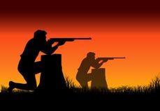 Man shoot a gun. Man shooting a gun silhouette at sunset , Variable on Illustrations Stock Photography