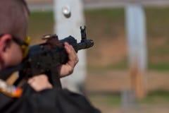 Man shooting. Man practicing shooting with a shotgun Royalty Free Stock Photo
