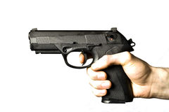 Man Shooting .45 caliber Pistol Isolated on White Stock Photos