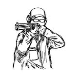 Man shooting double barrel shotgun vector illustration sketch ha Royalty Free Stock Images