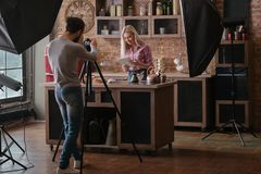 Food blogger photo session backstage photography royalty free stock images