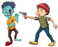 Man shooting zombie with shortgun. Illustration Royalty Free Stock Photos