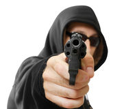 Man  shoots a gun, gangster. Focus on the gun, isolated on white Royalty Free Stock Photos