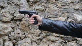Man shoots with His Gun stock video