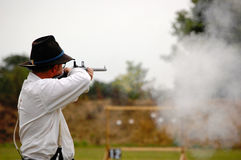 Man shoots N-SSA National Skirmish-1. Man shoots at N-SSA National Skirmish Stock Images