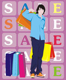 Man with shopping. Figure men with their purchases, in color, a vector Stock Images