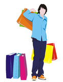 Man with shopping. Figure men with their purchases, in color, a  on a white background Royalty Free Stock Images