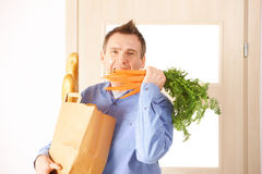 Man with shopping bag Royalty Free Stock Image