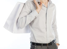 Man with shopping bag over white. Picture of young slim male with shopping bag on isolated white Stock Photography