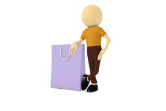 Man with shopping bag Stock Photo