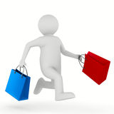Man with shopping bag on white Royalty Free Stock Photo