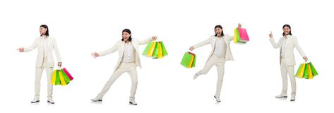 The man with shopping bags isolated on white stock images